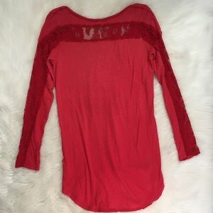 Free People Tops - Free People Red Lace Long Sleeve Graphic Tee Shirt